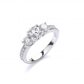 Rhodium Plated Brilliant-Cut Trilogy Ring