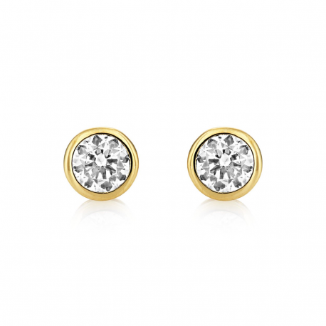 Central Brilliant Stud Earrings - Gold