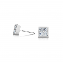 Ice Cube Stud Earrings Model CZE1033