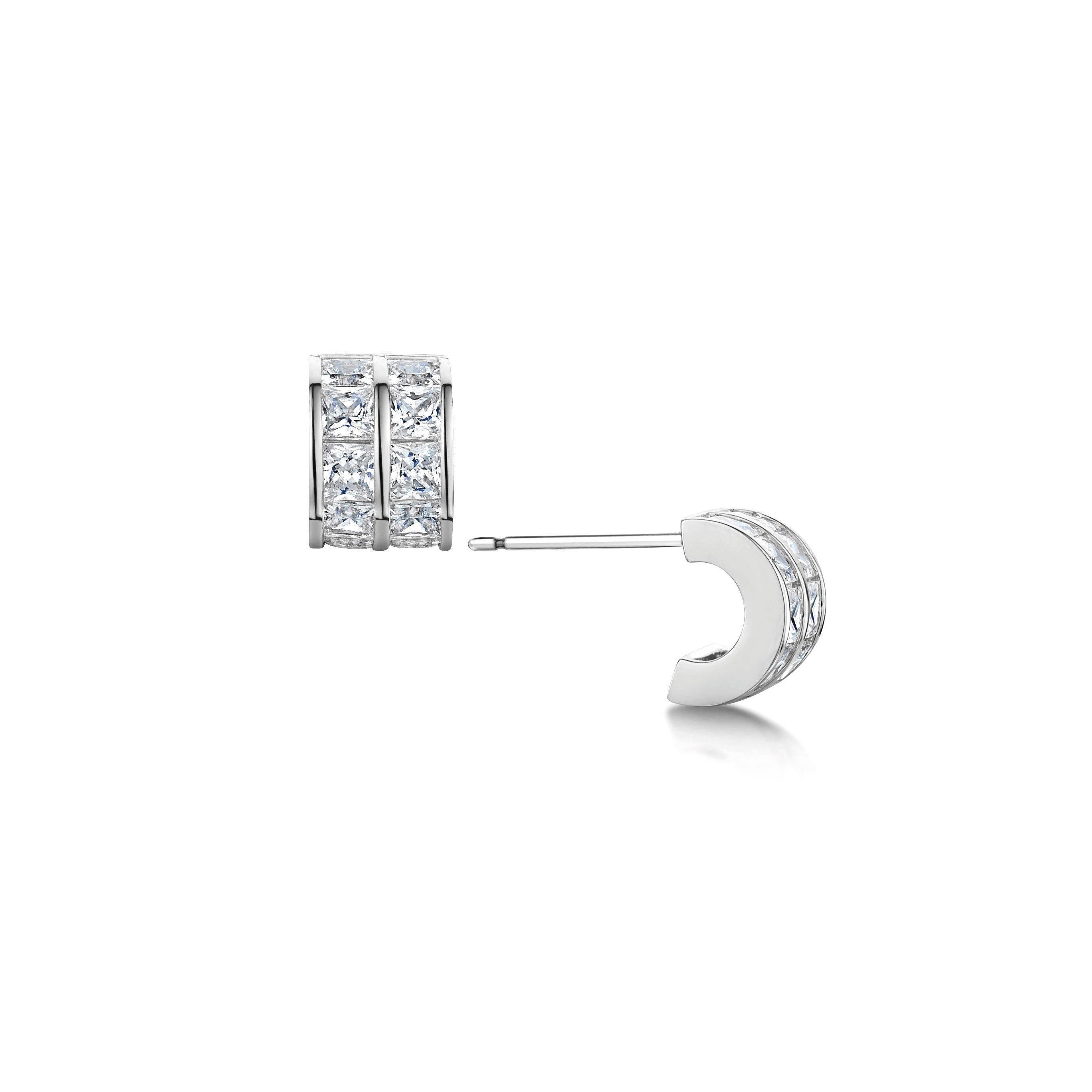 all cubic jewelry hoop polished ag zirconia bling flat tone az silver view huggie sterling high earrings